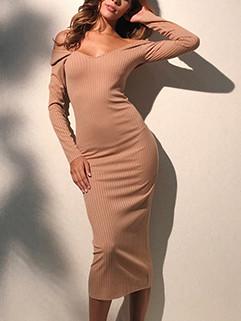 Article Pit Long Sleeve Off Shoulder Midi Dress