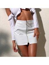 Round Buckle Zipper Up PU Chic Skirt