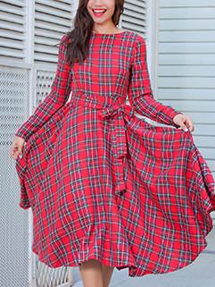 Autumn Long Sleeve Plaid Swing Dresses