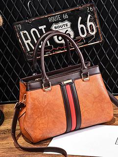 Stylish Contrast Color PU Zipper Up Shoulder Bag(3-4 Days Delivery)