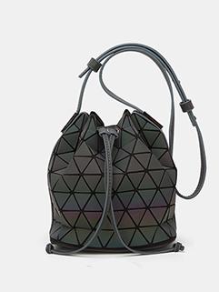 Chic Geometric Colorful Luminous Bucket Shoulder Bag