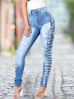European Design High Waist Worn Out Denim Jeans