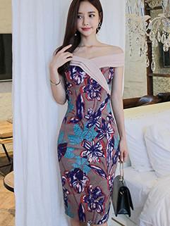 Latest Korean Off Shoulder Floral Dress