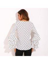 Euro Dot Printed Layered Ruffled Sleeve Blouse