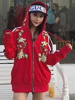 Korean Stylish Embroidered Striped Webbing Hooded Jacket
