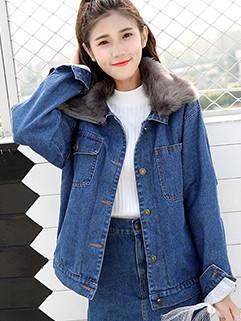 Stylish Lapel Patchwork Fur Collar Denim Coat