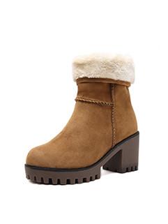 Round Toe Chunky High Heel Platform Snow Boots