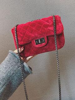 Korean Diamond Hasp Velvet Easy Match Shoulder Bag