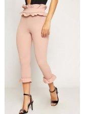Fashion High Waist Ruffles Fitted Pants