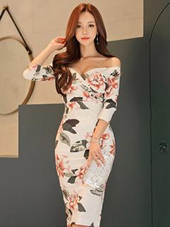 Korean Design Boat Neck Flower Printing Dress