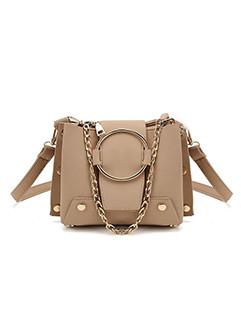 Rivet Detail Buckle Chains Shoulder Bag On Sale