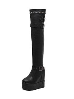 Rivets Buckle Decor Round Toe Platform Thigh High Boots