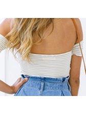 Sexy Boat Neck Stripe Tie-wrap Strapless Shirt