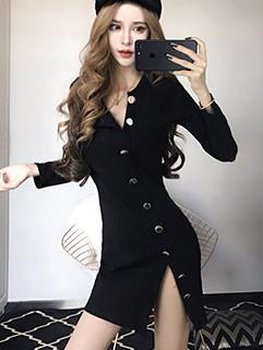 Euro Single Breasted Slit Wrap Long Sleeve Black Dress