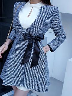 Fashion V Neck Bow Tie Bandage Houndstooth Coat