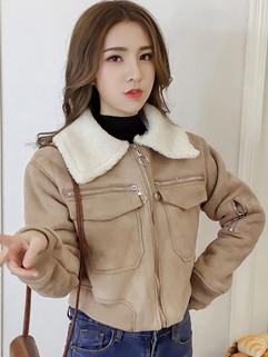 Turndown Collar Suede Zip Up Cropped Jacket