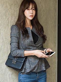 Korean Design Plaid Pleated Coat