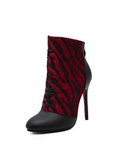 Ladies Pointed Toe Patchwork Stiletto Heel Booties