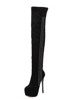 Faux Diamonds Stiletto High Heel Thigh High Boots