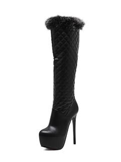 Argyle Patch Fluffy Trim Black High Heel Knee High Boots