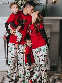 Euro Christmas Elk Printed Long Sleeve Family Sets
