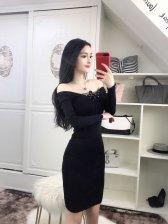 Lace-up Front Off Shoulder Knitting Dresses