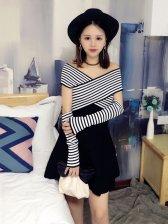 Cross Stripe Oversleeve Knitting Dress Designer