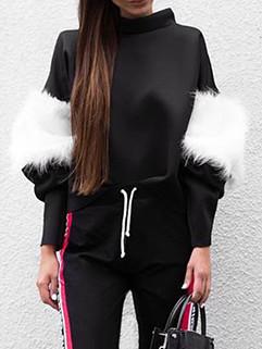 Unique Design Fur Patchwork Black Sweatshirt