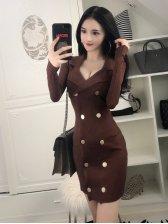 Elegant Lapel Double Breasted Pencil Dress