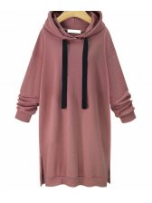 Casual Solid Split Long Hooded