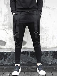 Hip-Hop Solid Skinny Easy Match Stage Black Pants