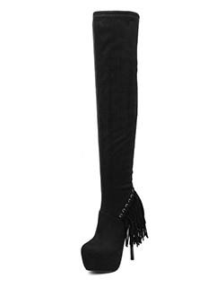 Fringed Decor Platform Stiletto Black Thigh High Boots