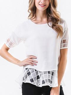 Bowknot Patchwork Short Sleeve Blouse Design