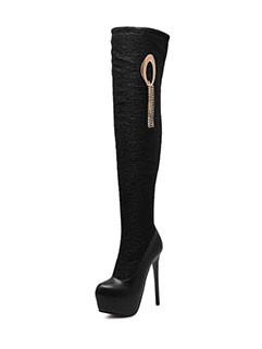 Patchwork Stiletto High Heel Thigh High Boots