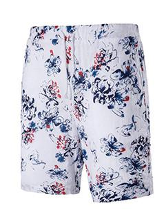 New Style Printed Elastic Linen Beach Short Pant