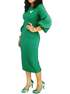 Lantern Sleeve Pocket Euro Green Dresses