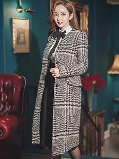 British Style Plaid Single Breasted Long Coat