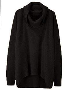Pile Collar High Low Hem Pullover Sweater