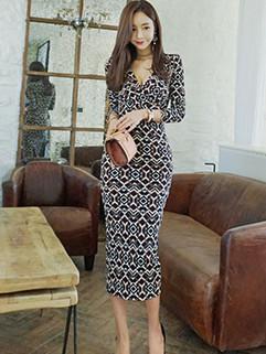 Deep V Neckline Prints Fashion Pencil Dress