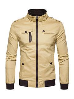 Youthful Chest Pocket Stand Neck Zipper Up Jacket
