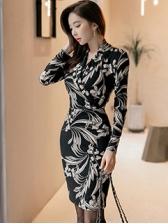 Korean Floral Prints OL Elegant Dress