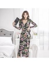Newest Flower Prints Maxi Surplice Dress