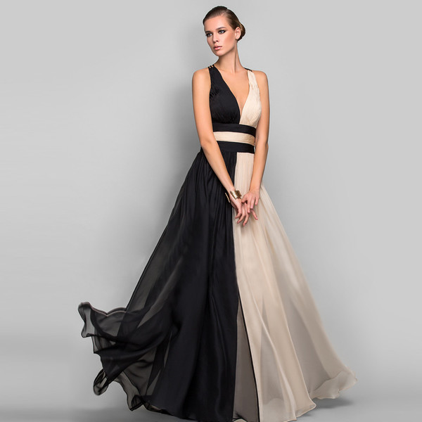 Color Block Deep V Neck Chiffon Evening Gown
