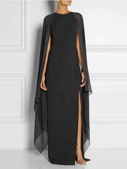 Fashion Sleeveless Solid Slit Cloak Chiffon Evening Dress