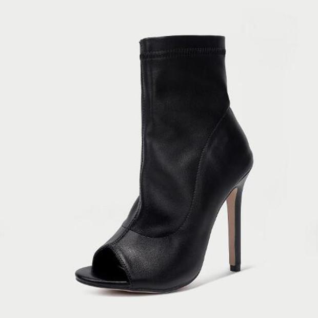 Open Toe Black Stiletto High Heel Short Boots