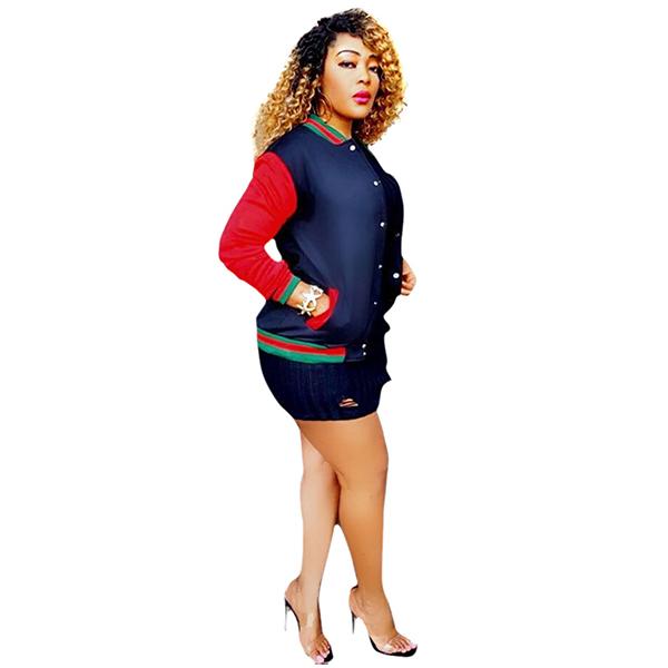 Contrast Color Fashion Women Baseball Outwear