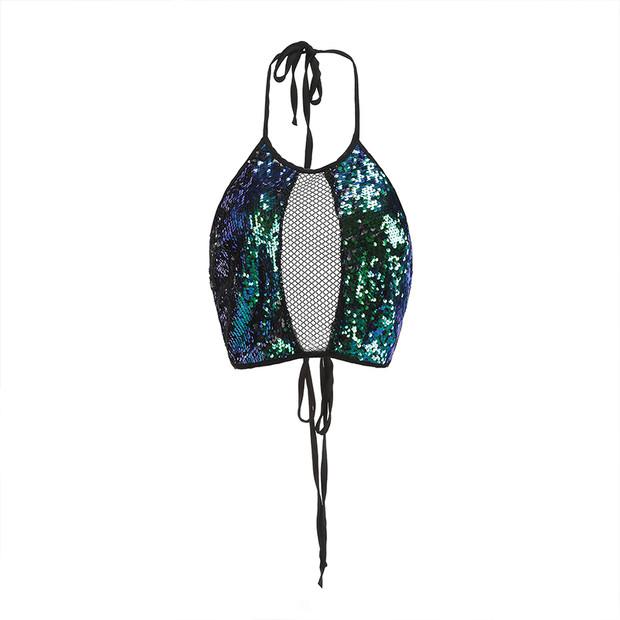 European Style Halter Patchwork Sequined Vest