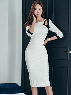 Korean Design Color Contrast Fitted Dress