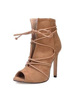 Unique Design Lace Up Hollow Out Stiletto Heel Boots