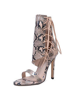 Unique Snakeskin Lace Up Stiletto Heel Boots